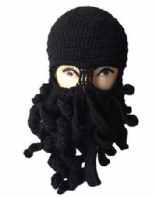 Black Octopus Knitted Balaclava / Beanie Hat